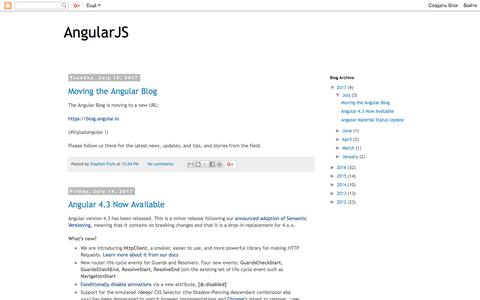 Screenshot of Blog angularjs.org - AngularJS - captured July 4, 2018