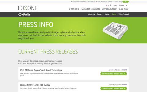Screenshot of Press Page loxone.com - Press Info - Loxone - captured Aug. 27, 2016