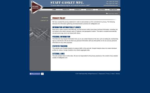 Screenshot of Privacy Page staffgasket.com - Privacy Policy - Staff Gasket Manufacturing, Inc. - captured Nov. 5, 2014