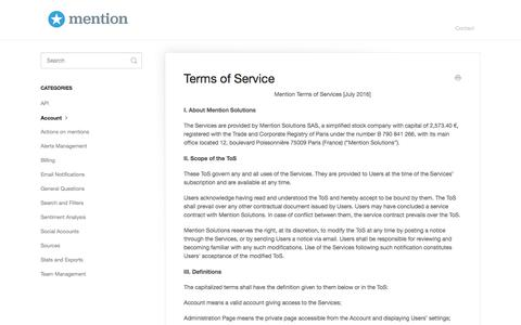 Terms of Service - Mention Knowledge Base