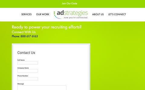 Screenshot of Contact Page adsrecruit.com - Contact Ad Strategies | Scottsdale, AZ - captured Oct. 3, 2018