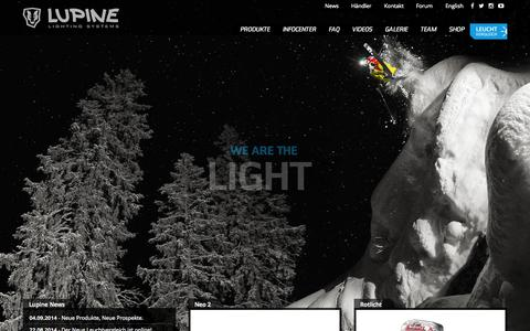 Screenshot of Home Page lupine.de - Lupine Lighting Systems - - captured Sept. 25, 2014