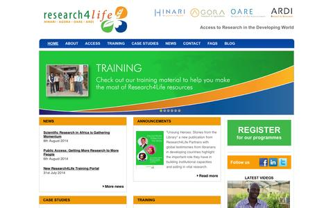 Screenshot of Home Page research4life.org - Research4LifeHome | Research4Life - captured Sept. 24, 2014