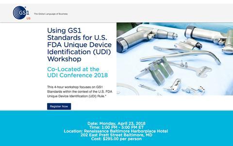 Screenshot of Landing Page gs1us.org - Using GS1 Standards for U.S. FDA Unique Device Identification (UDI) Workshop - captured March 27, 2018