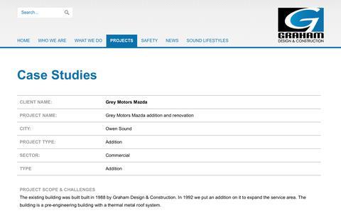 Screenshot of Case Studies Page grahamconstruction.ca - Case Studies - captured Aug. 4, 2017