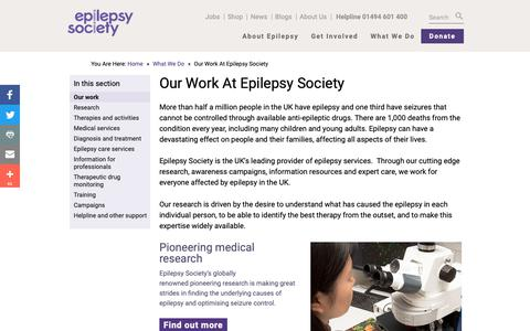 Screenshot of Services Page epilepsysociety.org.uk - Our work | Epilepsy Society - captured Nov. 5, 2018