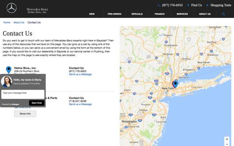 Screenshot of Contact Page Maps & Directions Page helmsbros.com - Contact Helms Bros., Inc. in Bayside New York - captured Nov. 7, 2016