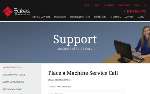 Screenshot of Support Page eakes.com - Request Copier Service   HP Printer Service - captured July 13, 2017