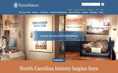 Screenshot of Home Page tryonpalace.org - Tryon Palace - captured Feb. 27, 2016