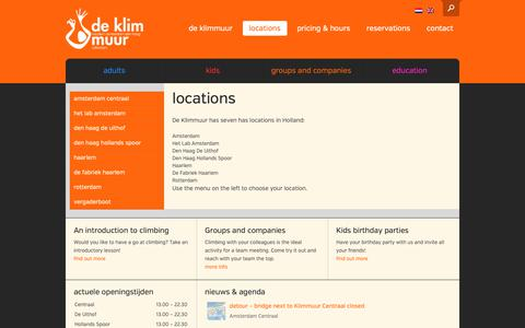 Screenshot of Locations Page deklimmuur.nl - Klimhallen en boulderhallen in Nederland | De KlimmuurDe Klimmuur - captured Dec. 19, 2018