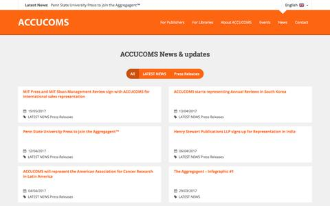 Screenshot of Press Page accucoms.com - News Archive - ACCUCOMS - captured May 28, 2017