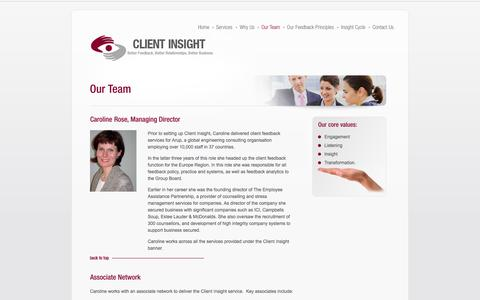 Screenshot of Team Page client-insight.com - Our Team - captured Oct. 2, 2014