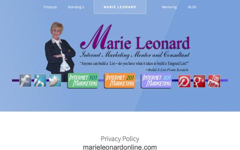 Screenshot of Privacy Page marieleonardonline.com - Thank You! Your Mesage has been sent. - captured Sept. 23, 2014