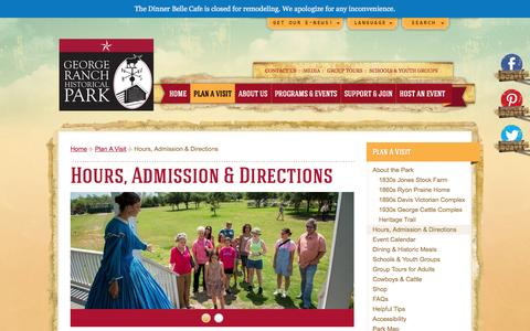 Screenshot of Hours Page georgeranch.org - Hours, Admission & Directions - George Ranch Historical Park - captured March 8, 2016