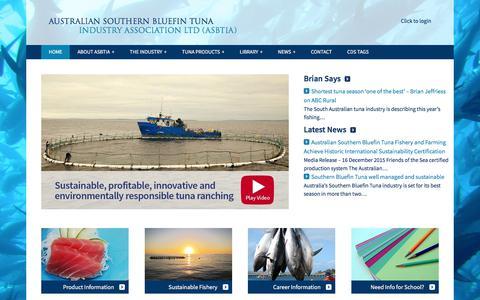 Screenshot of Home Page asbtia.com.au - Australian Southern Bluefin Tuna Industry Association, Port Lincoln - captured Oct. 9, 2017