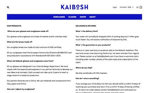 Screenshot of FAQ Page kaibosh.com - FAQ – Kaibosh - captured June 8, 2017