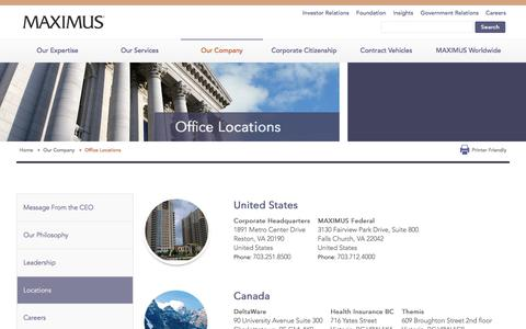 Screenshot of Locations Page maximus.com - Office Locations | MAXIMUS - captured Jan. 15, 2018
