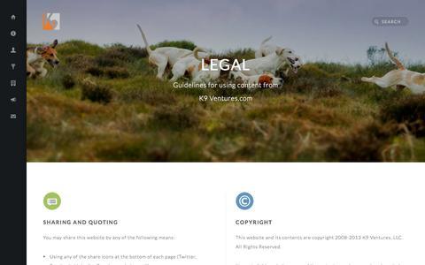 Screenshot of Terms Page k9ventures.com - Legal - K9 Ventures - captured Sept. 19, 2014