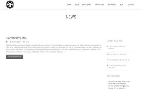 Screenshot of Press Page radius-media.com - News | Radius - captured Oct. 9, 2014