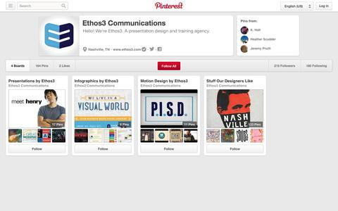 Screenshot of Pinterest Page pinterest.com - Ethos3 Communications on Pinterest - captured Oct. 22, 2014