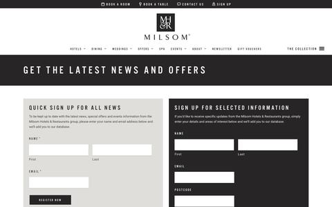 Screenshot of Signup Page milsomhotels.com - Get the Latest News and Offers - Milsom Hotels - captured Feb. 13, 2016