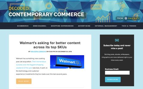 Screenshot of Blog salsify.com - Decoded: Contemporary Commerce - The Salsify Marketing Blog - captured Dec. 23, 2016
