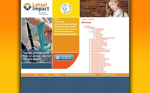 Screenshot of Site Map Page letselimpact.nl - Sitemap, Letsel Impact, belangenbehartiging - captured Jan. 28, 2016