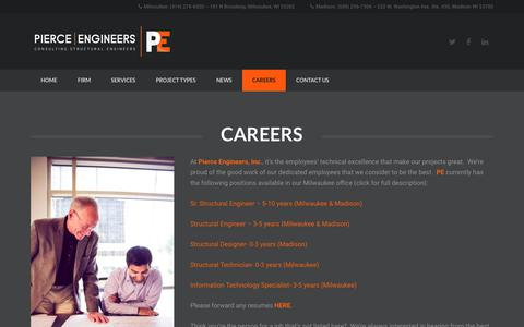 Screenshot of Jobs Page pierceengineers.com - Careers – Pierce Engineers - captured Sept. 28, 2018