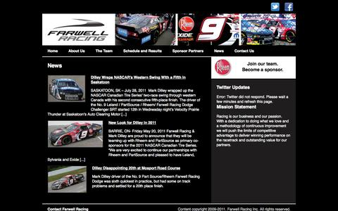 Screenshot of Press Page farwellracing.com - News |  Farwell Racing - captured Oct. 5, 2014