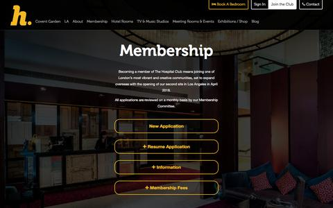 Screenshot of Signup Page thehospitalclub.com - The Hospital Club - Join - captured June 15, 2017
