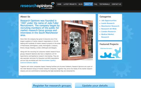 Screenshot of About Page researchopinions.co.uk - Research Opinions is the largest recruiter of paid market research focus groups and interviews in the UK - captured Nov. 4, 2014
