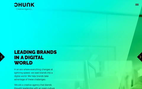Screenshot of Home Page chunkagency.com - Let's get personal - Chunk Creative Agency - captured July 14, 2018
