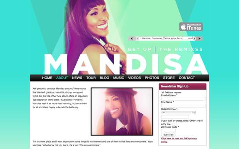 Screenshot of About Page mandisaofficial.com - About » Mandisa Official - captured June 11, 2016
