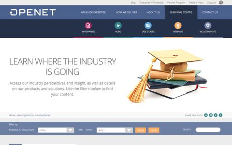 Learning Centre - Industry Events | Openet
