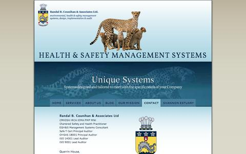 Screenshot of Contact Page safetymanagement.ie - Randal B. Counihan & Associates Ltd. - Bespoke Occupational Health & Safety Management Systems - captured Feb. 16, 2016