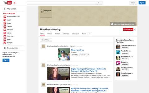 Screenshot of YouTube Page youtube.com - BlueGrassHearing  - YouTube - captured Oct. 23, 2014