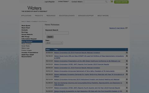 Screenshot of Press Page waters.com - News Releases : Waters - captured July 24, 2019