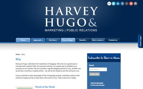 Screenshot of Blog harveyandhugo.com - Blog | Harvey and Hugo Public Relations - captured Oct. 2, 2014