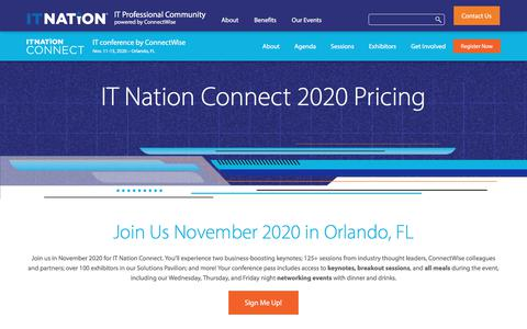 Screenshot of Pricing Page connectwise.com - IT Nation Connect 2019 Pricing - Register Now Through October 30! - captured Jan. 3, 2020