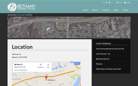 Screenshot of Maps & Directions Page bethany-ag.org - Location - captured Oct. 5, 2014