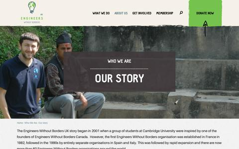 Screenshot of About Page ewb-uk.org - Our story | Engineers Without Borders UK - captured Sept. 28, 2018
