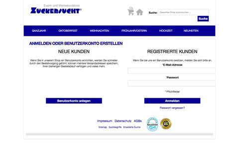 Screenshot of Login Page zuckersucht.de - Kundenlogin - captured June 5, 2016