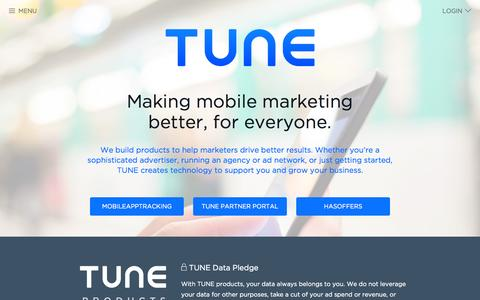 Screenshot of Home Page tune.com - TUNE | Making mobile marketing better, for everyone. - captured May 6, 2015