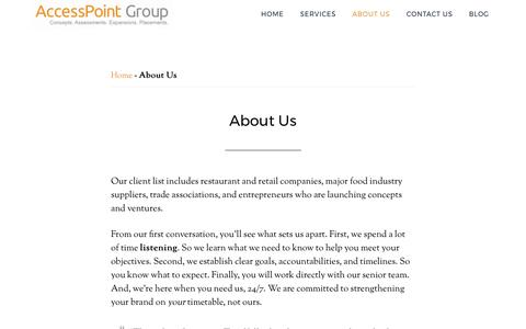 Screenshot of About Page accesspointgroup.com - About Us   AccessPoint Group - captured May 29, 2017