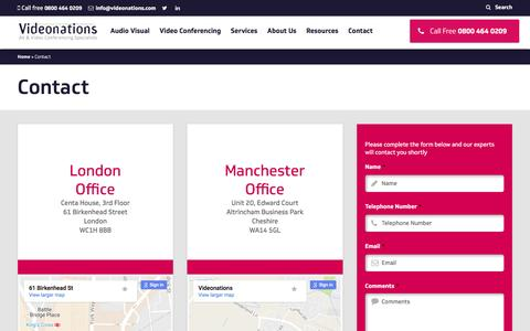 Screenshot of Contact Page videonationsltd.co.uk - Contact Videonations   Videonations Telephone Number - captured Nov. 6, 2016
