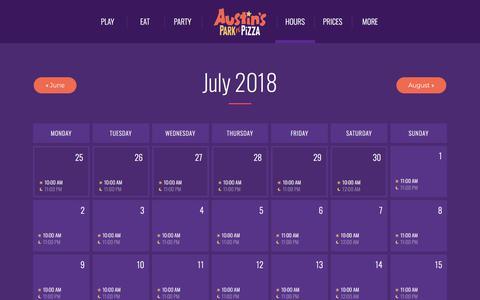 Screenshot of Hours Page austinspark.com - Sunday Hours - Austin's Park n' Pizza | Pflugerville, TX - captured July 31, 2018
