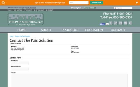 Screenshot of Contact Page painsolving.com - Contact The Pain Solution - captured Oct. 6, 2014