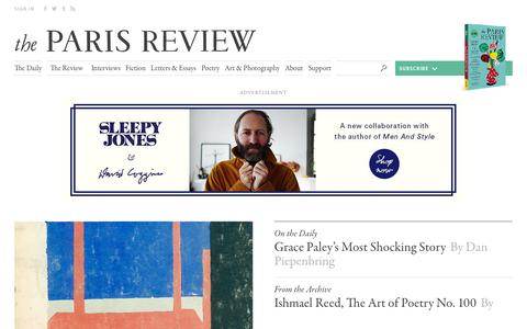 Screenshot of Home Page theparisreview.org - Paris Review - Writers, Quotes, Biography, Interviews, Artists - captured Dec. 5, 2016