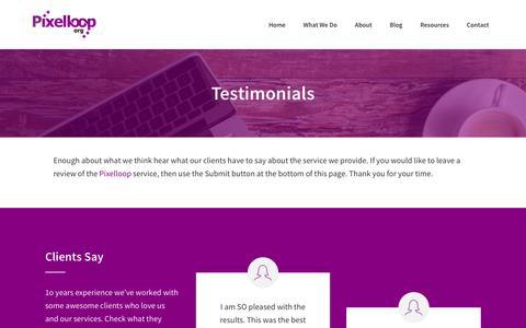Screenshot of Testimonials Page pixelloop.org - Pixelloop - Portfolio - Testimonials - captured May 18, 2017