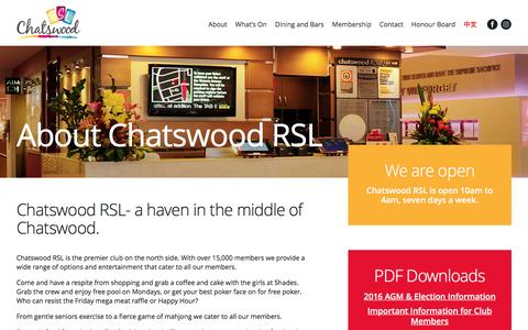 Screenshot of About Page chatswoodrsl.com.au - About - Chatswood RSL - captured May 16, 2017